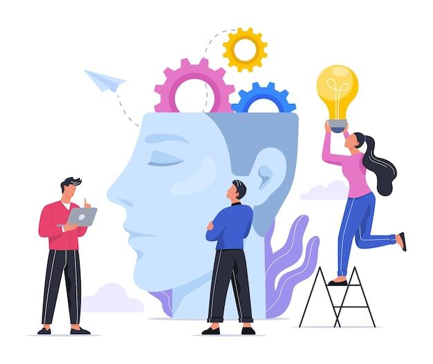 Koncepcja pomysłu. kreatywny umysł i burza mózgów. myślenie o innowacjach i znajdowanie rozwiązania. żarówka jako metafora. edukacja i planowanie projektów i budowanie zespołu. ilustracja