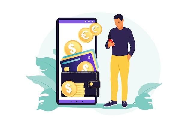 Koncepcja portfela cyfrowego. młody człowiek zamożny płaci kartą za pomocą płatności mobilnych. ilustracja. mieszkanie.