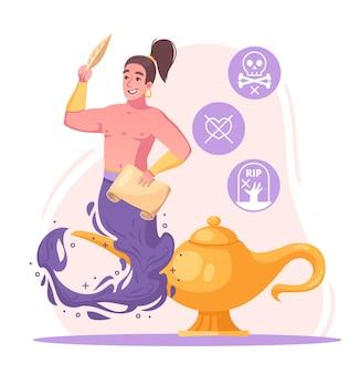 Koncepcja postaci dżina z kreskówką z życzeniami i symbolami kreatora
