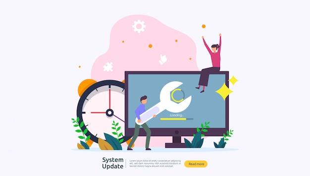 Koncepcja postępu aktualizacji systemu operacyjnego.