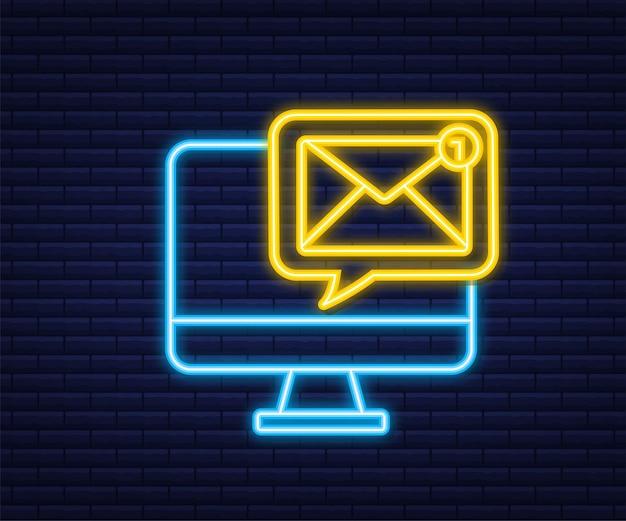Koncepcja powiadomienia e-mail. neonowa ikona. nowy e-mail. marketing e-mailowy. dzwonek powiadomienia. ilustracja wektorowa.
