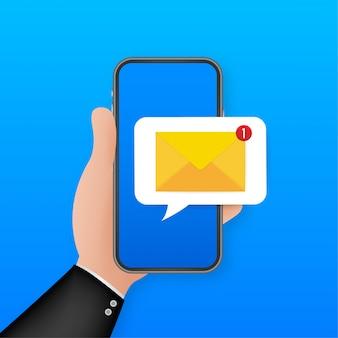Koncepcja powiadomienia e-mail. nowa wiadomość e-mail na ekranie smartfona. ilustracja.
