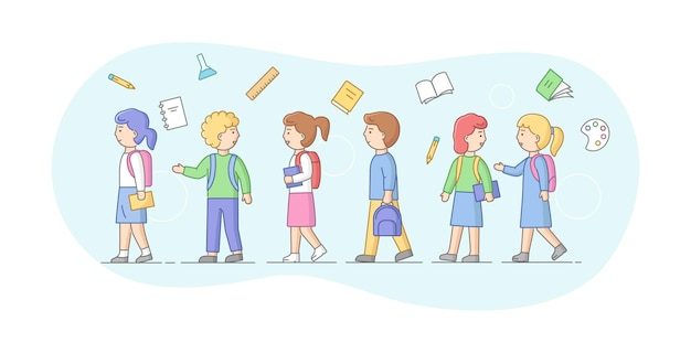 Koncepcja powrót do szkoły. grupa dzieci w szkole lub studentów stojących w rzędzie. uśmiechnięte nastolatki chłopców i dziewcząt z plecakami, książkami i przedmiotami szkolnymi. ilustracja kreskówka liniowy zarys płaski wektor.