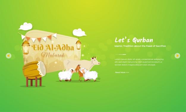 Koncepcja pozdrowienia eid al adha mubarak z charakterem bydła, kóz i owiec