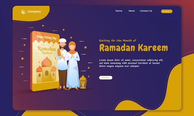 Koncepcja pozdrowienia ramadan kareem na stronie docelowej