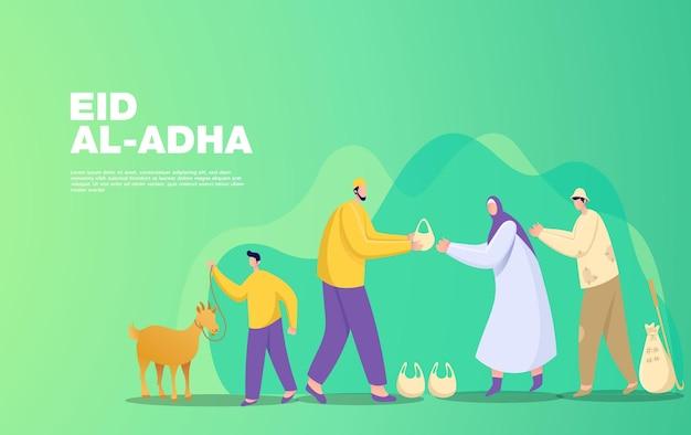 Koncepcja pozdrowienie eid al adha mubarak. ilustracja dzielenia się mięsem zwierzęcia ofiarnego, które zostało pocięte