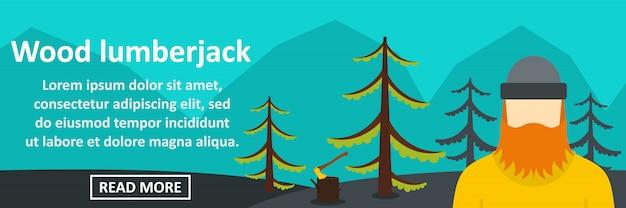 Koncepcja pozioma baner drwal drewna