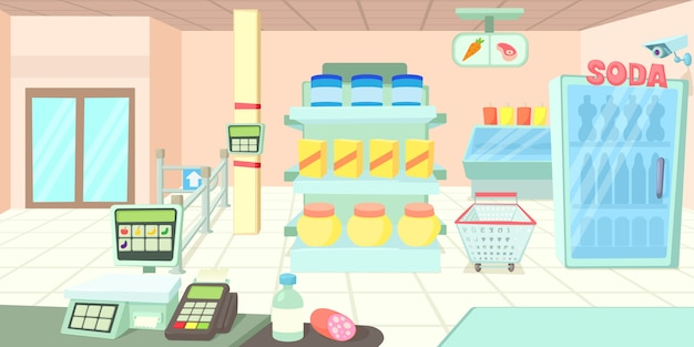Koncepcja poziomy baner supermarketu