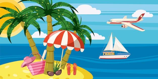 Koncepcja poziomy odpoczynek morza banner. ilustracja kreskówka morze odpoczynek banner poziomy wektor dla sieci web