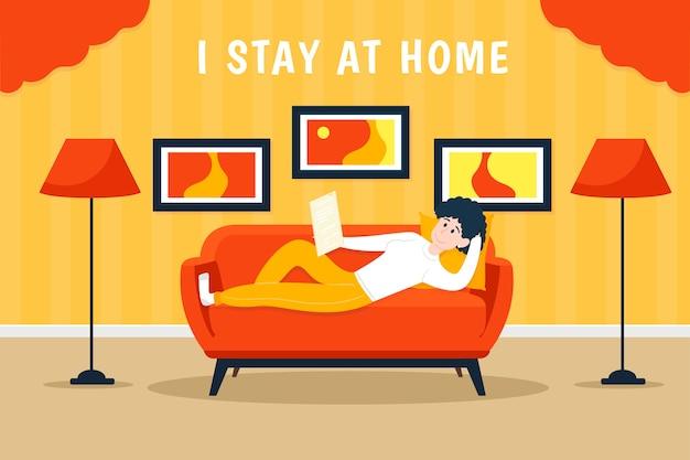 Koncepcja pozostania w domu w płaskiej konstrukcji