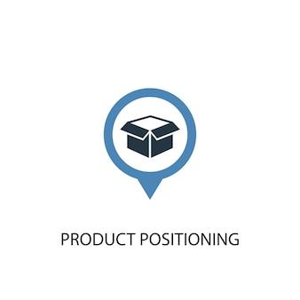 Koncepcja pozycjonowania produktu 2 kolorowa ikona. prosta ilustracja niebieski element. projekt symbolu koncepcji pozycjonowania produktu. może być używany do internetowego i mobilnego interfejsu użytkownika/ux