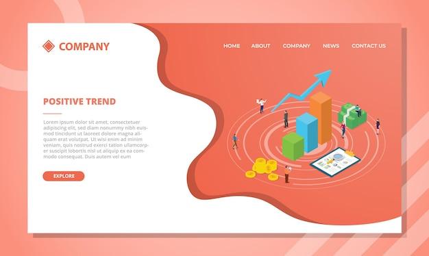 Koncepcja pozytywnego trendu dla szablonu strony internetowej lub projektu strony głównej docelowej z ilustracją w stylu izometrycznym
