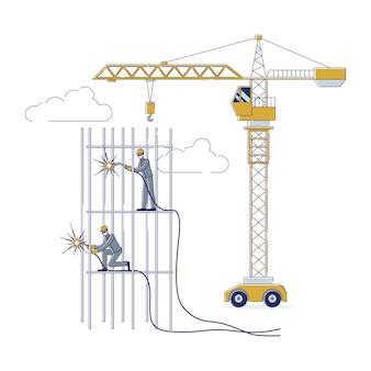 Koncepcja pracowników budowlanych pracujących razem