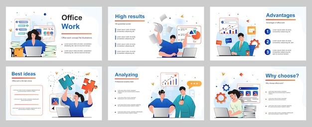 Koncepcja pracy biurowej dla szablonu slajdu prezentacji pracownicy pracujący przy laptopach wykonują zadania