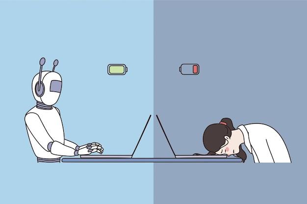 Koncepcja pracy robota i człowieka. robot ze sztuczną inteligencją siedzący pokazujący wysoką produktywność przy laptopie i zmęczona osoba czuje się wyczerpana na ilustracji wektorowych w biurze
