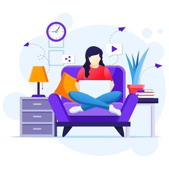 Koncepcja pracy w domu, kobieta siedząca na kanapie za pomocą laptopa, zostaje w domu na kwarantannie podczas ilustracji epidemii koronawirusa