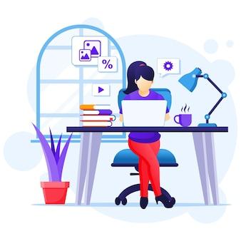 Koncepcja pracy w domu, kobieta siedząca przy biurku i praca na laptopie, pobyt w domu, kwarantanna podczas ilustracji epidemii koronawirusa