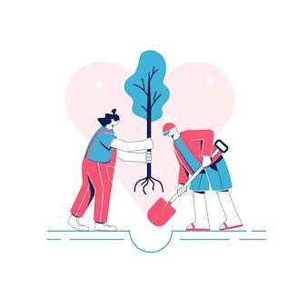 Koncepcja pracy wolontariuszy. sadzenie drzew. płaska ilustracja. postacie mężczyzny i kobiety.