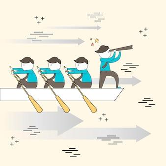Koncepcja pracy zespołowej: biznesmeni wiosłują na łodzi w stylu line