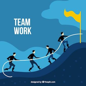Koncepcja pracy zespołowej biznesowych z płaska konstrukcja