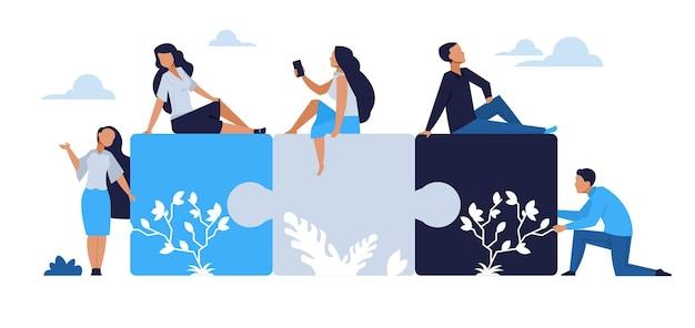 Koncepcja pracy zespołowej firmy. elementy układanki z zespołem biznesmen kreskówki, partnerstwo i komunikacja między ludźmi. ilustracja kreskówka projekt wektor