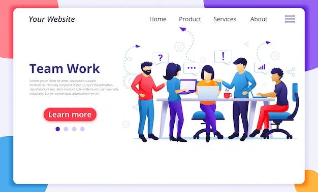 Koncepcja pracy zespołowej firmy, ludzie pracujący w biurze współpracy, metafora zespołu, partnerstwo. szablon strony docelowej witryny