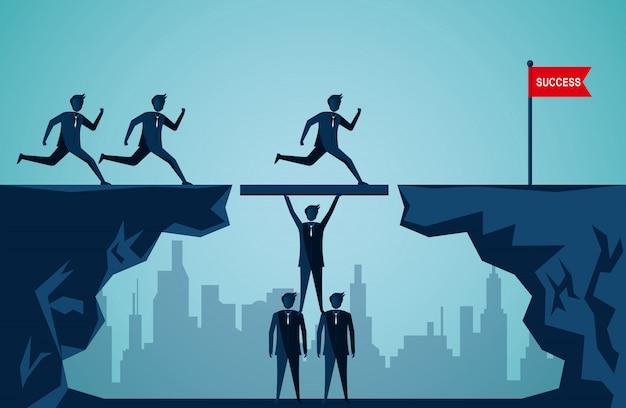 Koncepcja pracy zespołowej firmy. przedsiębiorcy pracujący razem, aby pchnąć organizację do celu sukcesu. harmonijny. kreatywny pomysł. ilustracja kreskówka wektor