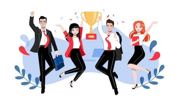 Koncepcja pracy zespołowej. grupa szczęśliwych ludzi biznesu lub studentów w różnych pozach z pucharem zwycięzcy