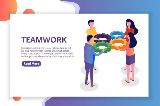 Koncepcja pracy zespołowej izometryczny, ludzie pracujący razem, rozwiązanie zespołu biznesowego. ilustracja.