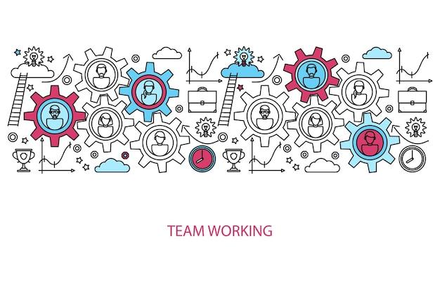 Koncepcja pracy zespołowej ludzi biznesu na stronie internetowej i strony docelowej. ilustracja wektorowa.