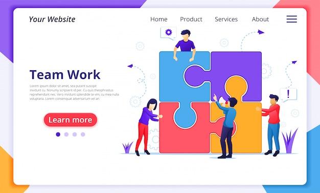 Koncepcja pracy zespołowej, ludzie łączący elementy układanki kawałek. przywództwo biznesowe, partnerstwo. szablon strony docelowej witryny