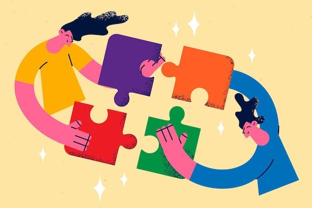 Koncepcja pracy zespołowej, współpracy i jednoczenia wysiłków. dwóch młodych ludzi współpracowników biznesowych, mężczyzna i kobieta, jednoczący wysiłki, naprawiające razem elementy jednej układanki jako ilustracja wektorowa członków zespołu