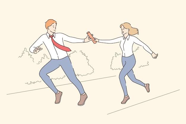 Koncepcja pracy zespołowej, współpracy i wyzwania biznesowego. młoda kobieta pracownik biegający i dający pałkę koledze w garniturze i krawacie, co oznacza ilustracji wektorowych koncepcji sukcesu i osiągnięcia