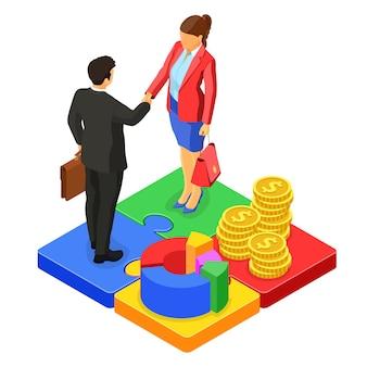 Koncepcja pracy zespołowej z biznesowym mężczyzną uścisk dłoni i kobietą na łamigłówki