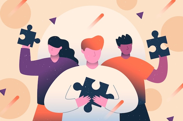 Koncepcja pracy zespołowej z ilustracji ludzi