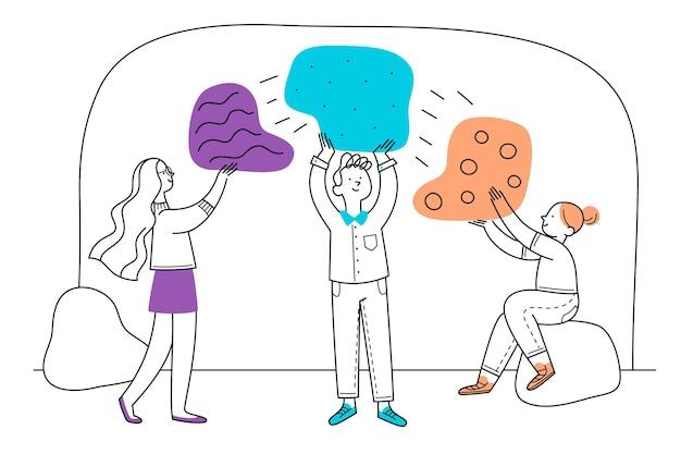 Koncepcja pracy zespołowej z ręcznie rysowane ludzi