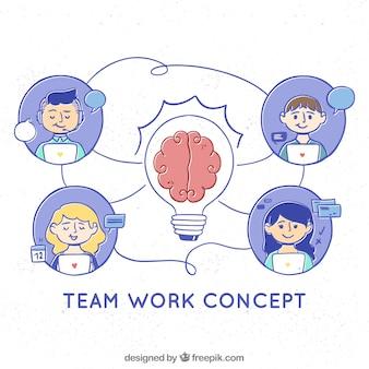 Koncepcja pracy zespołowej z ręcznie rysowane stylu