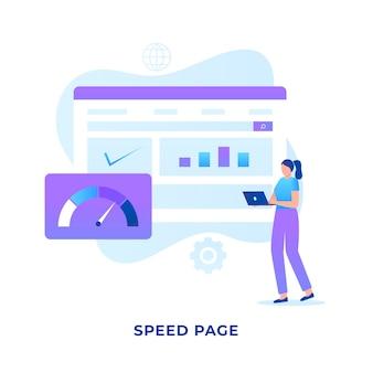 Koncepcja prędkości witryny płaskiej ilustracji