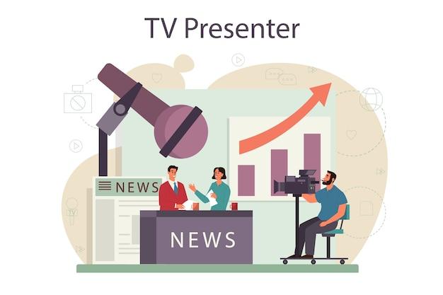Koncepcja prezentera telewizyjnego. gospodarz telewizyjny w studio. nadawca przemawia