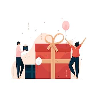 Koncepcja prezentów, wektor obchody urodzin