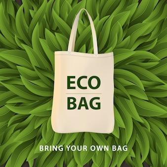 Koncepcja problemu zanieczyszczenia. powiedz nie plastikowym torbom, weź ze sobą własną torbę tekstylną. ilustracja