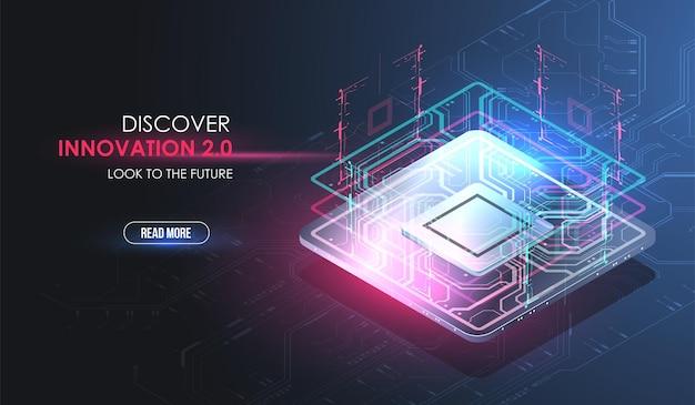 Koncepcja procesora z futurystycznymi elementami hud. cyfrowy chip. ai. płytka drukowana.