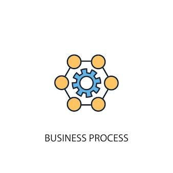 Koncepcja procesu biznesowego 2 kolorowa ikona linii. prosta ilustracja elementu żółty i niebieski. projekt symbolu zarysu koncepcji procesu biznesowego