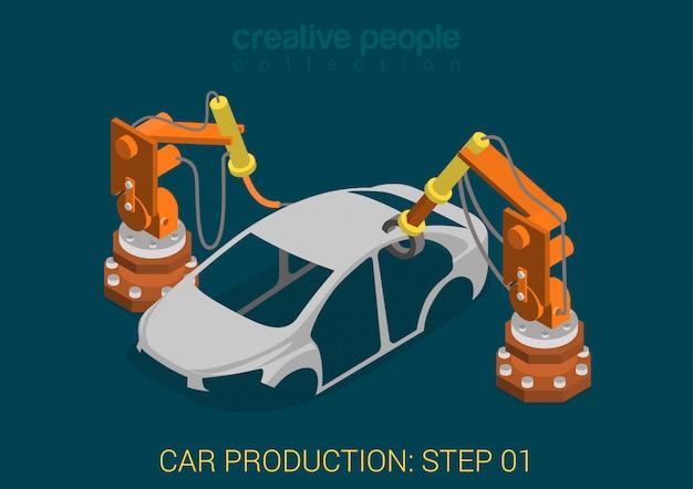 Koncepcja procesu zakładu produkcji samochodów roboty fabryczne spawają nadwozie pojazdu płasko izometrycznie.