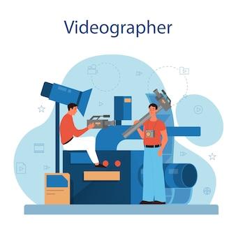 Koncepcja produkcji wideo lub kamerzysty. przemysł filmowy i kinowy. tworzenie treści wizualnych dla mediów społecznościowych przy użyciu specjalnego sprzętu.