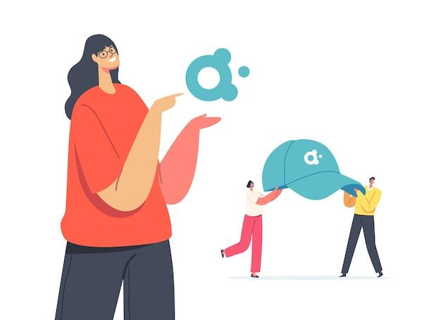 Koncepcja produktów promocyjnych. sprzedawczyni prezentująca logotyp firmy dla kampanii reklamowej tożsamości marki, małe postacie męskie noszą ogromną czapkę z daszkiem z logo. ilustracja wektorowa kreskówka ludzie