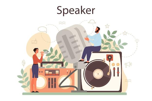 Koncepcja profesjonalnego mówcy, komentatora lub aktora głosowego. peson mówi do mikrofonu. nadawanie lub adres publiczny. prelegent na seminarium biznesowe.
