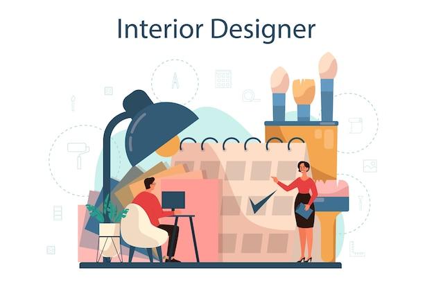 Koncepcja profesjonalnego projektanta wnętrz. dekorator planujący projekt pomieszczenia, dobierając kolor ścian i styl mebli. remont domu. ilustracja na białym tle płaski wektor