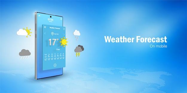 Koncepcja prognozy pogody, smartfon wyświetla widget aplikacji prognozy pogody, ikony, symbole