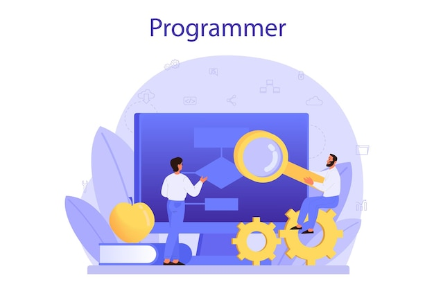 Koncepcja programowania. pomysł pracy na komputerze, kodowania, testowania i pisania programów, korzystania z internetu i innego oprogramowania. rozwój strony internetowej. ilustracja na białym tle wektor